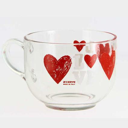 ספל קפה ענק Breakfast דגם לבבות