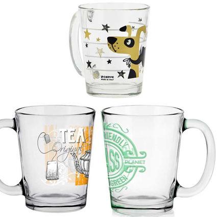 תמונה של מג קפה מזכוכית מעוטר דוגמאות שונות