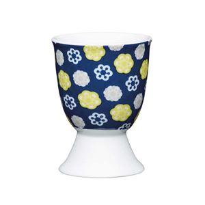 ביציה בעיצוב פרחים על רקע כחול קיטשנקראפט