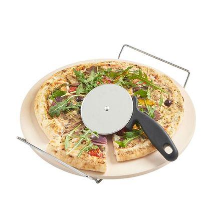 פיצה על אבן שמוט + גלגלת פיצה מבית קיטשנקראפט - Kitchen Craft