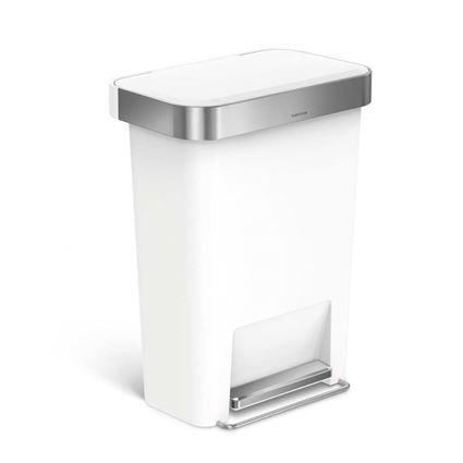 פח דוושה פלסטיק לבן עם שוליים נירוסטה 45 ליטר סימפלהיומן - Simplehuman