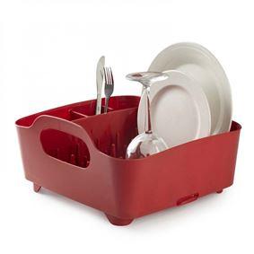 תמונה של מתקן לייבוש כלים קומפקטי מעוצב טאב אדום אומברה - Umbra