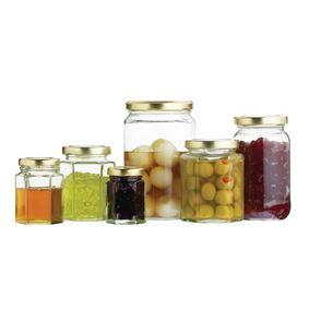 צנצנות זכוכית משושות במגוון גדלים מבית קיטשנקראפט - Kitchen Craft