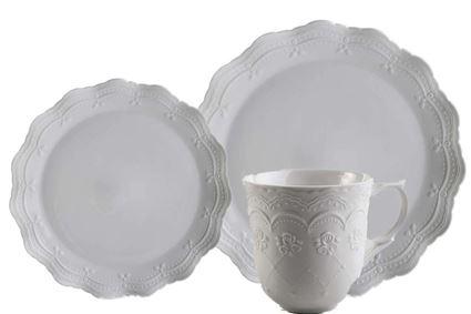 סט כלי אוכל מפורצלן עם עיטור עדין בצורת תחרה מבית ארקוסטיל Arcosteel