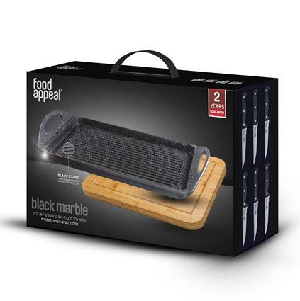 פלנצ'ה לגריל באריזת מתנה כולל לוח חיתוך ו 6 סכיני סטייק