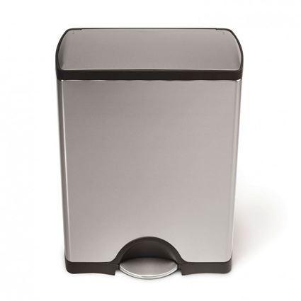 פח דוושה מלבני בנפח 50 ליטר בגימור כרום סימפלהיומן - Simplehuman