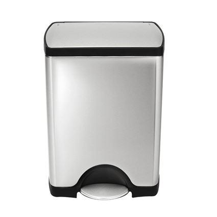 פח דוושה מלבני 30 ליטר בגימור כרום סימפלהיומן - Simplehuman
