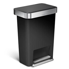 פח דוושה מלבני 45 ליטר שחור עם שוליים מנירוסטה סימפלהיומן - Simplehuman