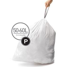 שקיות לפחים בנפח 50-60 ליטר, מידה P, סימפלהיומן - Simplehuman
