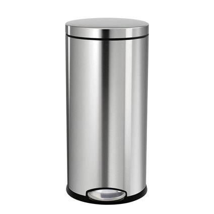 פח דושה עגול בגימור כרום מט 30 ליטר סימפלהיומן - Simplehuman