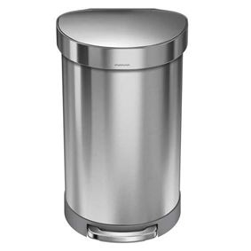 פח אשפה נירוסטה 45 ליטר חצי עגול