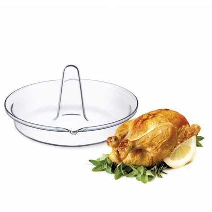 תבנית זכוכית חסינת אש לצליית עוף בתנור