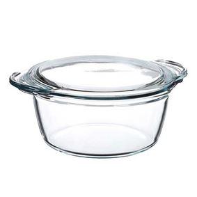 סיר בישול מזכוכית (פיירקס) חסינת אש עם מכסה