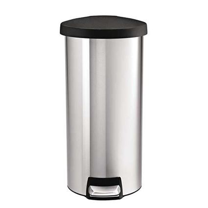 פח דושה 30 ליטר עגול עם מכסה פלסטיק שחור