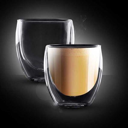 זוג כוסות קפה לאטה תרמיות קולומביה עם דופן כפולה פוד אפיל - Food Appeal