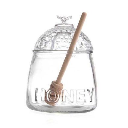 """דבשיה מעוצבת מזכוכית עם מכסה בנפח 500 מ""""ל"""