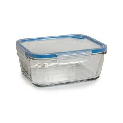 קופסת אחסון לאוכל מזכוכית 0.8 ליטר מלבני