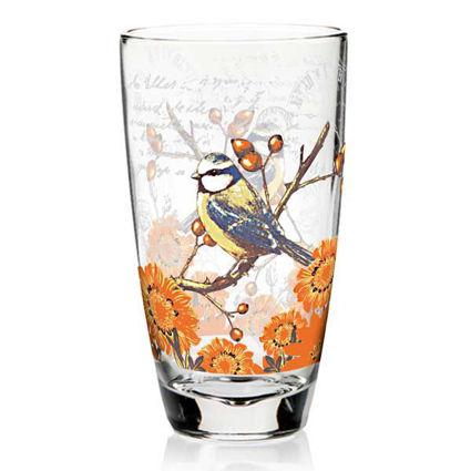 סט 3 כוסות שתיה מעוטרות ציפור