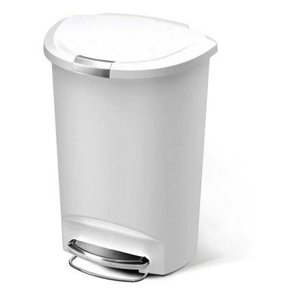 פח אשפה 50 ליטר עם דוושה חצי עגול לבן