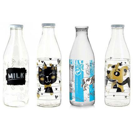 תמונה של בקבוק זכוכית 1 ליטר 6 דוגמאות יפהפיות