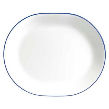 """מגש אובלי 31 ס""""מ פס כחול"""